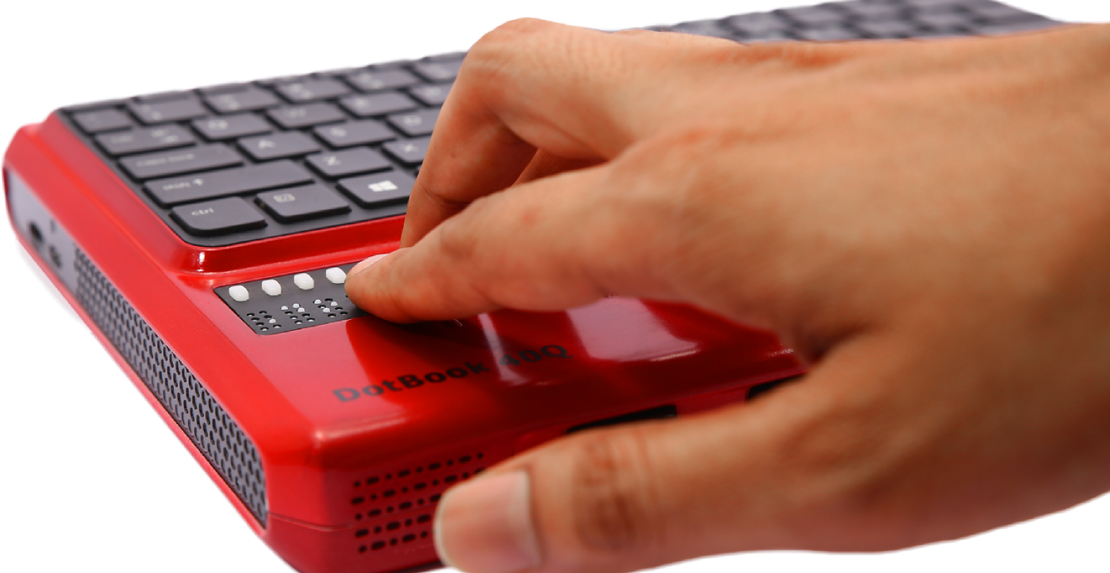 This image shows a person using DotBook's braille display.